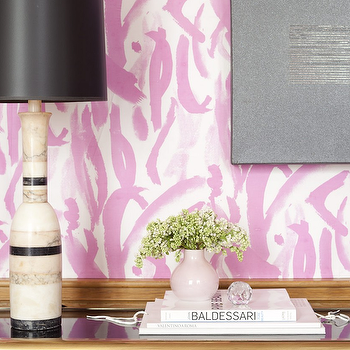 Amanda Nisbet Design - bedrooms - art deco lamp, pink wallpaper, art deco console table, black console table, gold trim, pink vase, pink wallpaper, white and pink wallpaper, brushstroke wallpaper, brush stroke wallpaper, pink brushstroke wallpaper, pink brush stroke wallpaper, gold console table,
