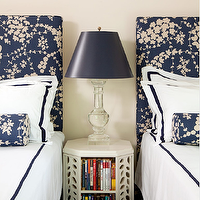 Amanda Nisbet Design - boy's rooms - blue headboards, crystal lamp, blue lamp shade, vintage nightstand, vintage bookcase, white hotel bedding, blue stitching, blue floral bolster pillows, patterned headboard, blue patterned headboards,