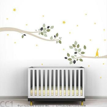 Art/Wall Decor - Kids wall decal rabbit tree branches by LeoLittleLion on Etsy - kids, wall, decal, rabbit, tree, branches, stars, gray, yellow,