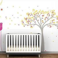 Art/Wall Decor - Tree & Birds Mural Wall Decal by LeoLittleLion on Etsy - birds, tree, wall, decal, mural, kids, nursery, gray, yellow, pink,
