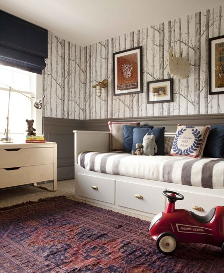 boy's rooms - Cole & Sons Woods Wallpaper woods wallpaper wainscoting gray wainscoting blue roman shade purple and red rug Persian rug white storage daybed stripe bedding modern dresser