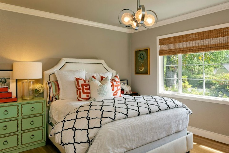 Holly Bender Interiors - bedrooms - Benjamin Moore - Stone Hearth - Restoration Hardware Delano Bed, gray bedroom, white headboard, headboard with nailhead trim, white headboard with nailhead trim, Dorothy Draper chest, green Dorothy Draper chest, red lacquer stacking boxes, crystal lamps, bamboo roman shade, trellis bedding, modern pendant,