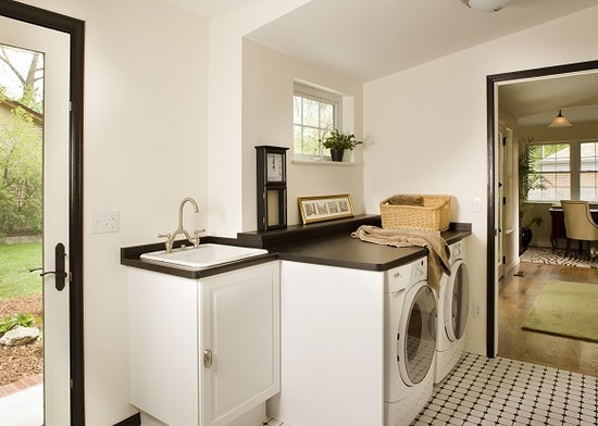 Black And White Laundry Room Hollywood Regency Laundry