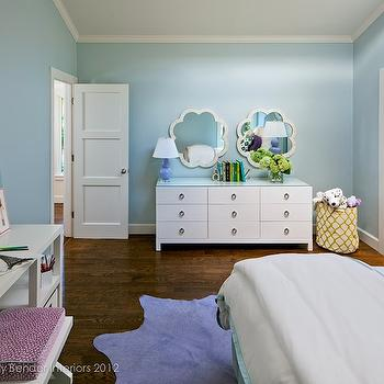 Holly Bender Interiors - girl's rooms - blue girl's bedroom, scalloped mirrors, white modern dresser, white dresser, purple cowhide rug, cowhide rug, white console desk, purple gourd lamp, ring pulls, ring hardware, girls paint colors, blue and purple girl room, blue and purple girls room, blue and purple girl bedroom, blue and purple girls bedroom, Made Goods Fiona Mirror in Bone, West Elm 2 x 2 Console Desk,