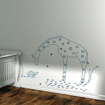 Kids wall decal giraffe lion silhouette by LeoLittleLion on Etsy