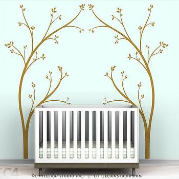 Art/Wall Decor - Kids wall decal white tree modern by LeoLittleLion on Etsy - wall, decal, kids, nursery, brown, tree, branches,