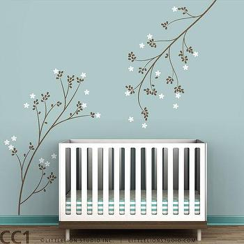 Art/Wall Decor - Kids wall decal cherry blossom by LeoLittleLion on Etsy - cherrym blossom, branches, wall, decal, kids, nursery, brown, white,