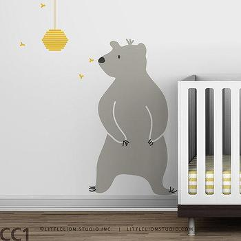 Art/Wall Decor - Kids wall decal bear nursery decor by LeoLittleLion on Etsy - kids, nursery, wall, decal, gray, yellow, honey, bear,