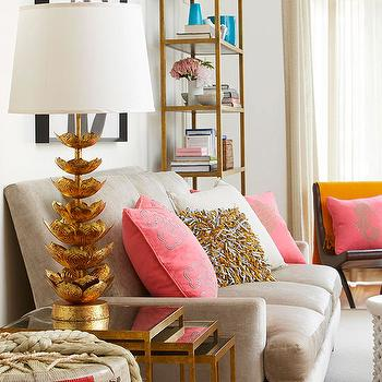 Salmon Pink Sofa Eclectic Den Library Office Summer