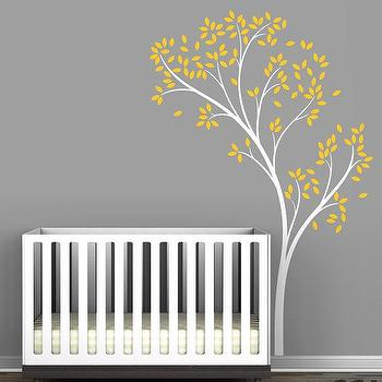 Art/Wall Decor - Kids wall decal decor leaves wall by LeoLittleLion on Etsy - wall, decal, leaves, tree, white, gray, yellow, nursery, kids,