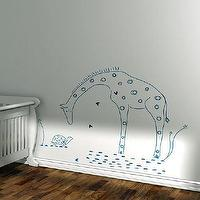 Art/Wall Decor - Kids wall decal giraffe lion silhouette by LeoLittleLion on Etsy - kids, nursery, wall, decal, blue, giraffe,