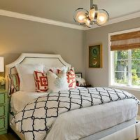 Holly Bender Interiors - bedrooms - gray bedroom, white headboard, headboard with nailhead trim, white headboard with nailhead trim, Dorothy Draper chest, green Dorothy Draper chest, red lacquer stacking boxes, crystal lamps, bamboo roman shade, trellis bedding, modern pendant, gray and green bedroom, green and gray bedroom, studded headboard, nailhead headboard, Restoration Hardware Delano Bed,