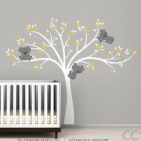 Art/Wall Decor - Wall decal Modern Koala Cuteness by LeoLittleLion on Etsy - modern, wall, decal, kids, nursery, koala, bear, tree, gray, yellow, white,