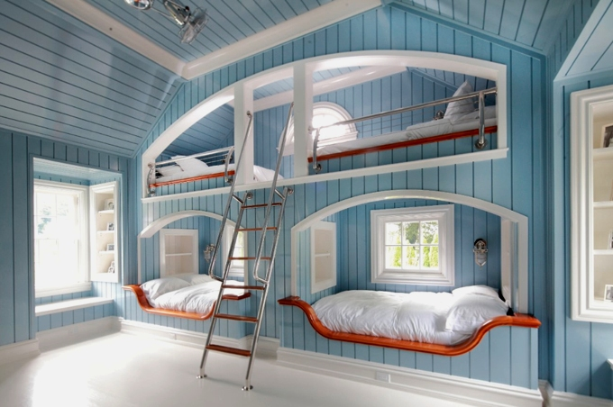boy's rooms - blue boy's bedroom, built-in bunk beds, blue beadboard walls, beadboard ceiling, ladder, vaulted ceiling, bedroom sconces, marine sconces, bunk bed ladders, removable bunk bed ladders, white bunk bed ladders, bunk beds, built in bunk beds, boys bunk beds, boys built in bunk beds, boys beds, blue bunk beds, blue built in bunk beds,