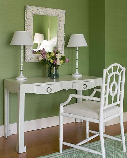 Chloe Armchair, green bedrooms, green grasscloth, grasscloth ...