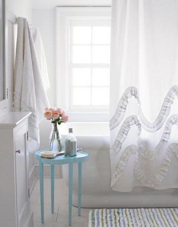 Ruffled Shower Curtain Cottage Bathroom