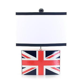 Lighting - Jill Rosenwald Studio - Jack Brick Lamp - red, white, blue, Union, Jack, flag, English, British, lamp,