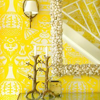 Meg Braff Interiors - entrances/foyers - yellow wallpaper, chinoiserie wallpaper, yellow chinoiserie wallpaper, mirrored console table, gold mirrored console table, seashell mirror, branch votives, yellow foyer, the vase wallpaper, david hicks wallpaper, david hicks the vase wallpaper, david hicks vase wallpaper, The Vase Wallpaper by David Hicks,