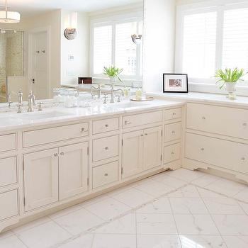 Papyrus Home Design - bathrooms - master bathroom, white bathroom cabinets, inset cabinets, white inset cabinets, marble countertops, marble tiles, marble floor, white master bath, white master bathroom,