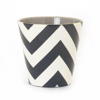 Decor/Accessories - Jill Rosenwald Studio - Chevron 5 V Vase - black, white, gray, chevron, vase,