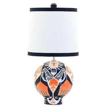 Lighting - Jill Rosenwald Studio - Ikat Ball Lamp - navy, blue, orange, ball, lamp, ikat,