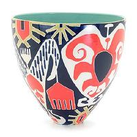 Decor/Accessories - Jill Rosenwald Studio - Ikat  Bee Bowl - ikat, navy, coral, pink, bowl,