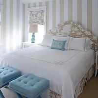 Meg Braff Interiors - bedrooms - chinoiserie bedroom, turquoise blue bedroom, tan stripe walls, tan roman shades, chinoiserie roman shades, chinoiserie headboard, tan headboard, camelback headboard, turquoise blue lamps, turquoise blue gourd lamps, turquoise blue ottomans, turquoise blue tufted ottomans, x-base ottomans, turquoise blue x-base ottomans, white nightstands, blue ottomans, tufted ottomans, blue tufted ottomans, beige and blue bedroom, blue and beige bedroom,