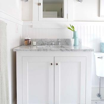 White Beadboard Bathroom, Cottage, bathroom, Papyrus Home Design