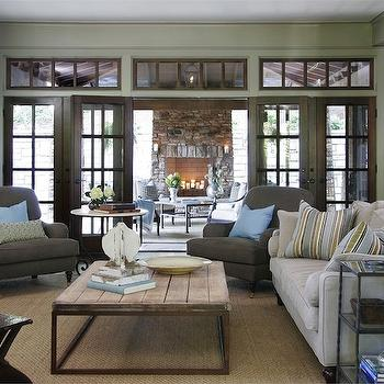 French Doors and Transom Windows, Transitional, living room, Benjamin Moore French Canvas, Dresser Homes