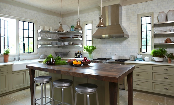 Crate And Barrel Butcher Block Kitchen Island : Crate & Barrel Spin Counter Stools - Eclectic - kitchen - Christopher Architects