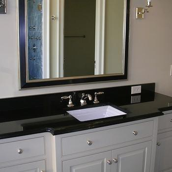 Absolute Black Granite, French, bathroom, Precision Stoneworks