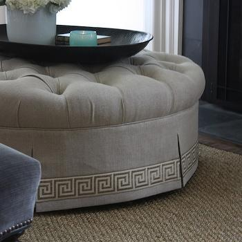 Greek Key Ottoman, Cottage, living room, Marianne Simon Design