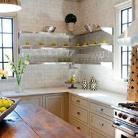 Christopher Architects - kitchens - gray kitchen, gray kitchen cabinets, gray cabinets, farmhouse sink, instant hot water faucet, white carrara marble, white carrara marble countertops, white carrara marble subway tiles, white carrara marble subway tile backsplash, backsplash, stainless steel appliances, kitchen hood, island pendants, butcher block, butcher block countertop, butcher block kitchen island, stainless steel shelves, stainless steel floating shelves,