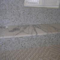 Precision Stoneworks - bathrooms - mosaic marble, mosaic marble tiles, mosaic marble tile, marble bench, marble shower floor,  Modern bathroom