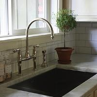 Marianne Simon Design - kitchens - topiary, polished nickel bridge faucet, bridge faucet, carrara marble, carrara marble countertops, subway tiles, subway tile backsplash, white subway tiles, white subway tile backsplash, platinum grout, gray grout, blanco sink, Blanco Single Bowl Sink,