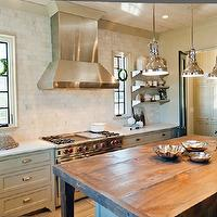 Christopher Architects - kitchens - gray kitchen, gray kitchen cabinets, gray cabinets, white carrara marble, white carrara marble countertops, white carrara marble subway tiles, white carrara marble subway tile backsplash, backsplash, stainless steel appliances, kitchen hood, island pendants, butcher block, butcher block countertop, butcher block kitchen island, stainless steel shelves, stainless steel floating shelves,