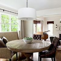 Marianne Simon Design - dining rooms - dining room pendant, pendant lighting, curved bench, brown chair, brown leather chair, tufted chair, tufted leather chair, brown leather tufted chair, salvaged wood dining table, wingback settee, upholstered settee, upholstered wingback settee, dining settee, dining wingback settee, Restoration Hardware Round Shade Pendant,