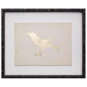 Art/Wall Decor - Gold Leaf Bird III Zinc Door - gold, leaf, bird, silhouette, black, faux, bamboo, framed, art,