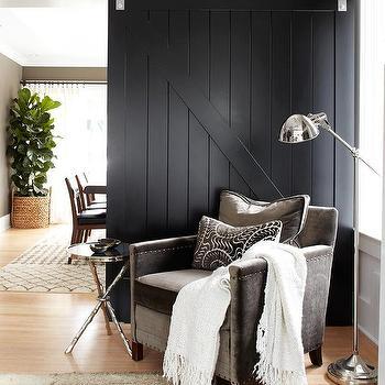 Black Sliding Barn Door, Contemporary, living room, Urrutia Design