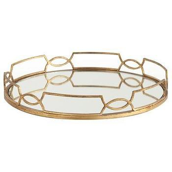 Decor/Accessories - ARTERIORS Home Cinchwaist Gold Iron with Mirror Tray | Wayfair - geometric, gold, leaf, tray, hollywood, regency, mirrored,