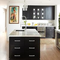 Urrutia Design - kitchens - White Carrara Marble, Subway Tile, Black Cabinets, White Cabinets, Black Cabinetry, White Cabinetry, black kitchen island, sink in kitchen island, black shaker cabinets, Kitchen, Black Kitchen, White Kitchen, Black White Kitchen,