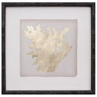 Art/Wall Decor - Gold Leaf Coral I Zinc Door - gold, leaf, coral, silhouette, black, faux, bamboo, art, framed,