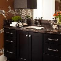 Urrutia Design - bathrooms - Emperador Mosaic, Emperador Marble, Black Cabinet, Black Cabinetry, Lucite Lamp, Michelangelo Counter, black bathroom cabinet, half bath, powder room, guest bathroom, brown bathroom, brown zebra wallpaper, zebra wallpaper, black bathroom cabinets, black vanity, black bathroom vanity,