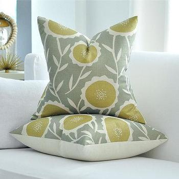 Pillows - Galbraith and Paul SUNFLOWER pillow cover by woodyliana I Etsy - sunflower, gray, cream, gold, pillow, linen,