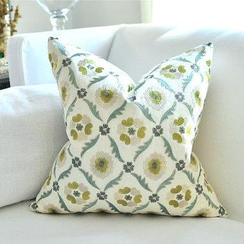 Pillows - Schumacher CLAREMONT pillow cover by woodyliana I Etsy - embroidered, green, blue, cream, pillow,