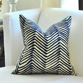 Pillows - Quadrille ZIG ZAG pillow cover by woodyliana I Etsy - blue, cream, navy, zig, zag, pillow,
