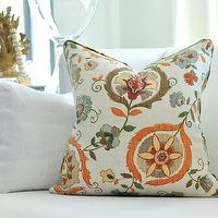 Pillows - Lee Jofa MONTMARTRE pillow cover by woodyliana I Etsy - cream, orange, gray, taupe, floral, pillow,