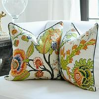 Pillows - Schumacher SINHALA pillow cover by woodyliana - green, orange, cream, pillow, floral, tropical,