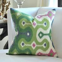 Pillows - Schumacher DARYA Ikat pillow cover by woodyliana I Etsy - green, cream, pillow, ikat,