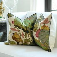 Pillows - PAIR GP J Baker NYMPHEUS pillow covers by woodyliana I Etsy - pillow, green, taupe, cream, lily, floral,